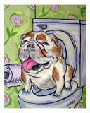 Bulldog Going To The Bathroom Giclee Print by Jay Schmetz