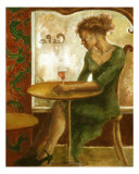 Woman In A Paris Cafe Giclee Print by Ellen Dreibelbis