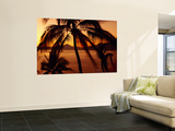 Silhouette of Palm Trees at Dusk, Manzanillo, Mexico Wall Mural