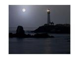 Pigeon Point Lighthouse At Full Moon Impressão fotográfica por George Oze