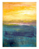 Gold And Pink Sunset On Lake Michigan Giclee Print by Michelle Calkins