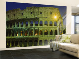 Ancient Building Lit Up at Night, Coliseum, Rome, Italy Wall Mural – Large