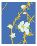 Gold N Blue Cherry Blossom Photographic Print by Estela Lugo