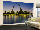 City Lit Up at Night, Gateway Arch, Mississippi River, St. Louis, Missouri, USA Wall Mural – Large
