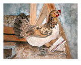 Chicken Hen Folk Art Farm Animal Giclee Print by Derek Mccrea
