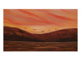 Sunset And Nature With The Colors Of Fire Giclee Print by Jean Phillips