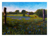 Barbed Wire & Bluebonnets Giclee Print by Lloyd Voges