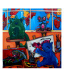 Fat Cats Take Over My Art Studio Giclee Print by Patti Schermerhorn