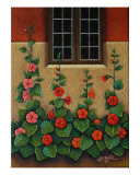 Hollyhocks Giclee Print by Gayle Wisbon