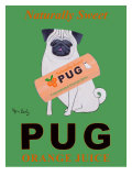 "Jus d'orange Pug ""Naturellement sucré"" - affiche publicitaire Art par Ken Bailey"