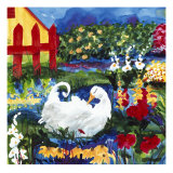 101 Views of the Red Fence Garden Giclée-tryk af Mike Smith