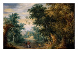 Landscape with Three Figures Giclee Print by Jan Brueghel the Elder