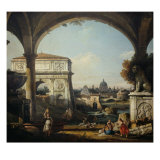 Caprice with Arch of Triumph Giclee Print by Bernardo Bellotto