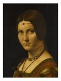 """Portrait d'une dame de la cour de Milan, dit à tort """"la belle ferronnière"""" Giclée-Druck von Léonard de Vinci"""