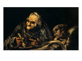 Two Old Men Eating Soup Reproduction procédé giclée par Francisco de Goya