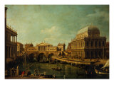 Basilica of Vicenza and the Rialto Bridge Giclee Print by Canaletto