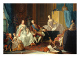 Don Philip of Bourbon with His Family Giclée-tryk af Giuseppe Baldrighi