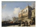Vue de Venise, le quai des esclavons et le palais des Doges Giclee Print by Richard Parkes Bonington