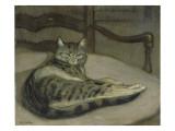 Chat sur un fauteuil Gicléedruk van Théophile Alexandre Steinlen