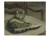Chat sur un fauteuil Giclee Print by Th&#233;ophile Steinlen