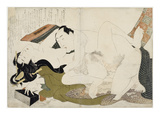 Erotic Scene, Shunga, Forms of Embracing Lmina gicle por Katsushika Hokusai