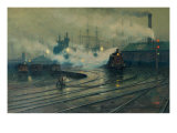 The Docks at Cardiff Giclee Print by Lionel Walden