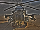 Seven Exposure HDR Image of an AH-64D Apache Helicopter as it Sits on its Pad Photographic Print by  Stocktrek Images