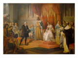 Cristopher Columbus at the Court of Catholics Kings, 1850 Giclee Print by Juan Cordero