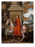 Mathild of Canossa on Horseback Giclee Print by Orazio Farinati