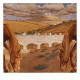 Landscape with View of Castel Del Monte, 1930-34 Giclee Print by Cambellotti Duilio