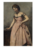Girl in Pink Dress Giclee Print by Jean-Baptiste-Camille Corot
