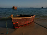 Fishing Boat on the Beach of the Indian Ocean in Zanzibar Island, Tanzania, Africa Photographic Print by Gina Martin