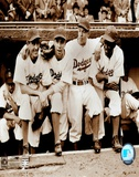 Jackie Robinson - First Day, with Spider Jorgenson, Pee Wee Reese, Ed Stankey Prints