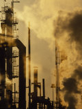 Steam Lit by Evening Light at an Oil Refinery, Houston,Texas Photographic Print by Lynn Johnson