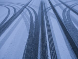 Tire Tracks on a Snowy Road, Flagstaff, Arizona Photographic Print by John Burcham
