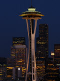 View of the Space Needle and Seattle's Skyline at Night, Washington Photographic Print by Darlyne A. Murawski