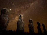 On Easter Island, Mysterious Statues Stand Beneath a Starry Sky, Easter Island Photographic Print by Stephen Alvarez