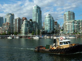 Downtown Vancouver from the Waterfront with a Tugboat in the Foreground Photographic Print by Darlyne A. Murawski