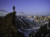 One Man Standing on a Summit in Denali National Park, Alaska, Denali National Park, Alaska Photographic Print by John Burcham