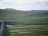 Dempster Highway Passing Through Gentle Yukon Landscape, Dempster Highway, Yukon Territory, Canada Photographic Print by George Herben