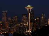 View of the Space Needle and Seattle&#39;s Skyline at Night, Washington Photographic Print by Darlyne A. Murawski