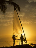 Little Girls Play with Dew on a Sail at Dawn, Key Largo, Florida Photographic Print by Skip Brown