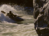 Whitewater Kayaker Surfs a River Standing Wave, Potomac River, Maryland, Virginia Photographic Print by Skip Brown