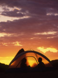Silhouette of a Couple in a Tent at Sunset, Moab, Utah Photographic Print by Kate Thompson