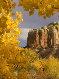 Yellow Leaves of Fall Frame a Rock Formation, Santa Fe, New Mexico, USA Photographic Print by Ralph Lee Hopkins