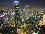 Night Scene of the Central Business District of Singapore Photographic Print by  xPacifica