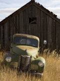 Abandoned Pick-Up Truck in Front of an Old Shed, Marysville, Montana Photographic Print by Pete Ryan