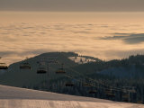 Ski Lift in Early Morning Light, Nature Park Suedschwarzwald, Germany Photographic Print by Norbert Rosing