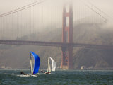International 14 Skiffs Race under the Golden Gate Bridge, San Francisco Bay, California Photographic Print by Skip Brown