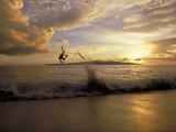 Skimboarder Flips Head over Heels Off a Wave, Makena Beach, Maui Island, Hawaiian Islands Photographic Print by Skip Brown
